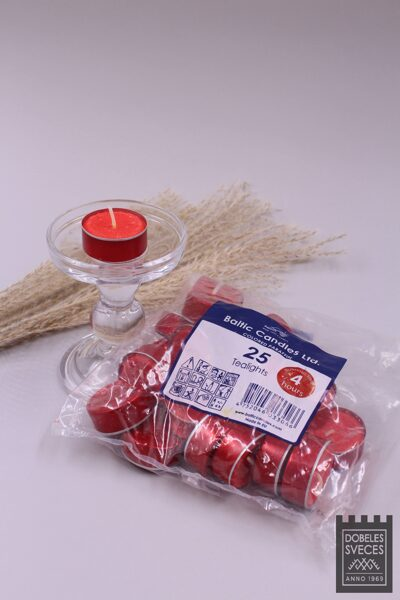 Tējas sveces parafīna - MAZĀS sarkanos alumīnija trauciņos 25 gab.