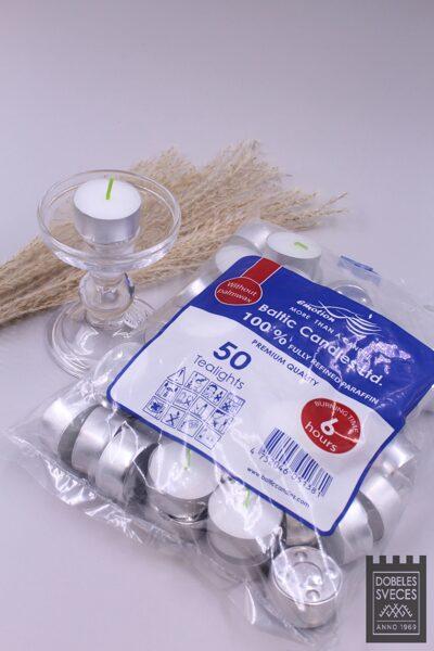 Tējas sveces parafīna - MAZĀS alumīnija trauciņos 50 gab.