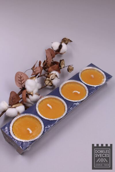 Āra sveces follijas trauciņos - oranžas 4 gab.